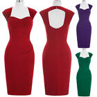 50'S 40s Vintage STYLE Solid Color Pencil Wiggle Pin-up Peplum Housewife Dress