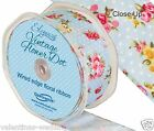 Full Roll Wired Edge Polka Dot Floral Ribbon x 10m - Blue Craft Vintage Wedding