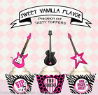 Rock Star Electric Guitar Pink Music Birthday Party Cupcake Toppers Cup cake