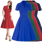Womens 1950s Vintage Style Retro Housewife Short Sleeve Swing Pin Up Party Dress