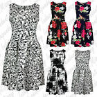Women Rose Floral Baroque Stroke Print Ladies Pleat Skater Sleeveless Dress 8-12