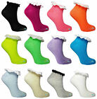 Ladies Ankle Socks with Frill Pastel & Neon Colours Casual Cotton Womens UK 4-8