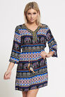 Ladies short mini dress v neck bohemian shirt 3/4 sleeves royal blue and black h
