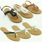Women's New Gladiator Flat Braided Sandals T-strap Flip Flops Thong Shoe Size
