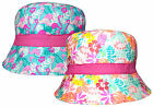 Girls Bush Hat Tropical Flowers & Flamingos Cotton Summer Sun Bucket Cap New