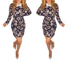 NEW Womens Flower print Mini Dress  Collared Long Sleeve great for Ladies Party