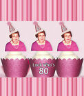 Custom 70th 80th birthday EDIBLE wafer 15 Cupcake Toppers PRE-CUT cup cake