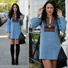 ZARA ETHNIC EMBROIDERED DENIM DRESS SIZE SMALL REF 7521 046
