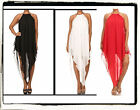 PLUS SIZ SEXY BLACK WHITE CORAL ASYMMETRICAL HI LOW LONG CHIFFON DRESS 1X 2X 3X