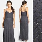 NEW Adrianna Papell Embellished Blouson Gown Gunmetal 2 4 4P 6 8 10 12  N144