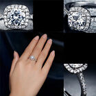 Wedding Ring Women Platinum Plated Inlay AAA CZ Accessories Luxury Bijoux Sz7-9