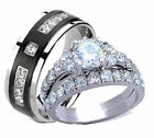 His and Hers Wedding Rings 3 Pc Stainless Steel & Titanium Cz Wedding Ring Set