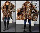 Plus size Tiger Print Asymmetrical Velboa Warm (Velvet)Swing Jacket Coat.