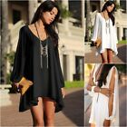 Asymmetric Mini Dress/Long Blouse Cut Out Long Sleeves Black White UK8-10-12-14