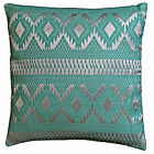 "Diamond Cushion Covers Filled Sea Green Silver Cotton Lurex 40cm 16"" Soft Shine"