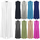 Womens Ladies Boyfriend Sleeveless Open Long Maxi Plain Cardigan Top 8-14