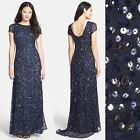 NEW Adrianna Papell Short Sleeve Sequin Mesh Gown in Navy SZ 6   N185