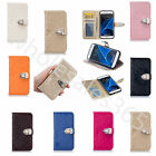 New Lattice PU Leather Metal Button ID Photo Window Case Cover For Various Phone