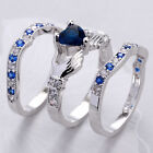 Fashion Jewelry Women Claddagh Ring Blue Sapphire 925 Silver Filled Wedding Ring