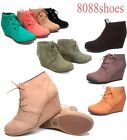 Women's Soda Cute Low Wedge Causal Lace Up Oxford Dress Booties Shoes NEW 6 -11