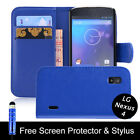 PU Flip Leather Case Cover For LG Google Nexus 4 E960+ Screen Protector +Stylus