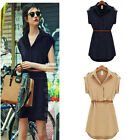 Womens Casual Summer Short Sleeve V Neck Loose Chiffon T Shirt Top Blouse Dress