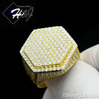 MEN 925 STERLING SILVER LAB DIAMOND ICED OUT HEXAGON GOLD BLING RING*GR56