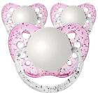 3 Personalized Pacifiers Orthodontic Pacifier Baby Girls Pink Glitter Pic Size