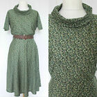VINTAGE 1970S GREEN ABSTRACT FUNNEL SCOOP NECK BOHO CHIC MIDI DAY DRESS 14-16