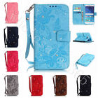 Flower Leather Diamond Jewelled Gem Case Stand Flip Cover For Smart Phones+Strap