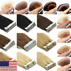 For a Full Head Remy Human Hair Extensions Seamless Tape in Weft Hair 40Pcs US