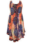 eaonplus TIEDYE Lightweight Dipped Hem BoHo Sundress ORANGE / PURPLE 16 18 20 22