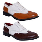 Mens Oxford Shoes Wingtip Lace Up Brogues Two Tone Wedding Formal Evening Shoes