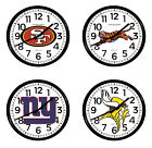 "NFL Team Logo Wall Clock 11"" Round Black Plastic Frame Man Cave Football Games $64.88 USD on eBay"