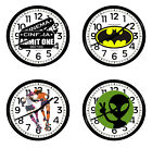 Comic Book Novelty Theme Wall Clock 11 Round Black Plastic Game Room Man Cave