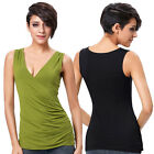 SUMMER SEXY Womens Casual Ruched Side Tank Tops Loose Sleeveless V Neck Shirts