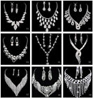 Hot Sale Wedding Party Bridesmaid Crystal Necklace Earrings Bridal Jewelry Sets