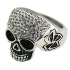 Ladies Stainless Steel Rings Skull with White CZ