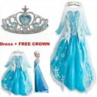 FROZEN ELSA ANNA PRINCESS DRESS KIDS COSTUME PARTY FANCY SNOW QUEEN DRESS+Crown