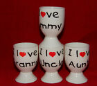 BN Boxed Fine Bone China Egg Cup, I love Mummy, Granny, Uncle, Auntie Egg Cup,