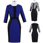 New Women Optical Illusion Colorblock Fitted Wiggle Cocktal Party Pencil Dress