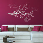 A heart that is loved is as free as a bird - Birdcage vinyl wall sticker decal