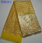 ELEGANT FRENCH EMBROIDEREY FLORAL SEQUINS BRIDAL MESH LACE FABRIC  5YDS LOT