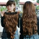 Womens wavy curly long natural brown black hair extension hairpiece 5 clips-in