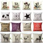 Cute Cat Sketch Panda Deer Letter Cotton Linen Pillow Cases Sofa Cushion Covers