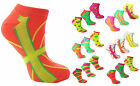 Ladies Ankle Socks Neon Colours Various Designs Casual Cotton Womens UK 4-6 3PK