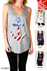 IRON PUPPY WOMEN'S PLUS ANCHOR PRINT BAMBOO BASIC SUMMER SOFT SLVLESS TANK TOP