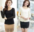 Blouse Stretch  T-Shirt Long Sleeve Fashion Lace Women O-neck Ladies Casual Top