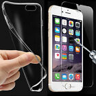 Ultra Thin Clear TPU Gel Skin Case Cover & Tempered Glass Protector For iPhone
