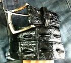 New!! REAL BIG CROCODILE ALLIGATOR HORNBACK SKIN LEATHER MENS BELT BLACK